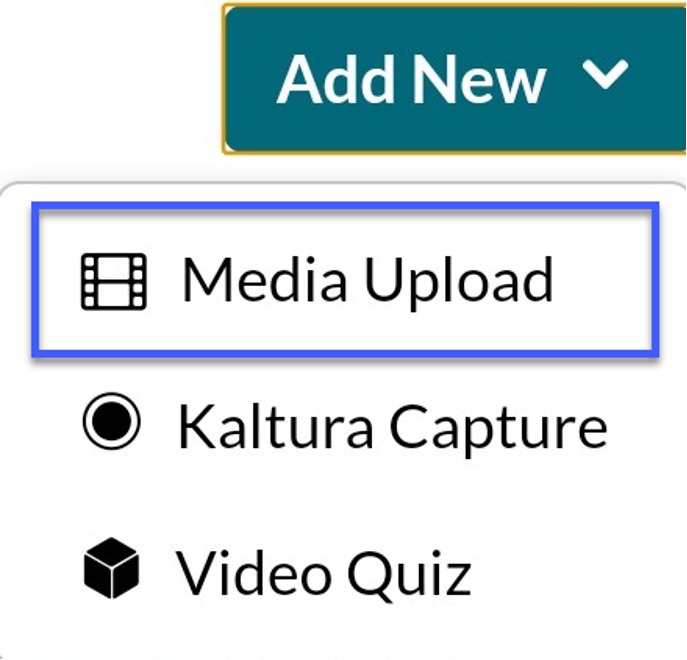 Select the Add New menu and then select Media Upload.