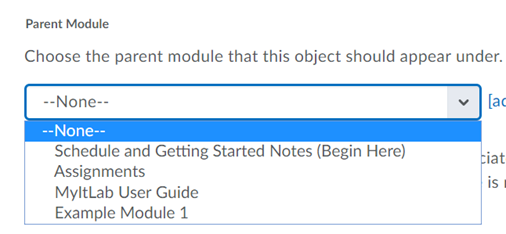 Select the parent module from the drop-down menu for where the object should appear.