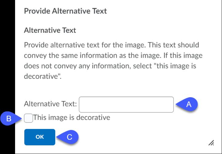 Provide Alternative Text popup.