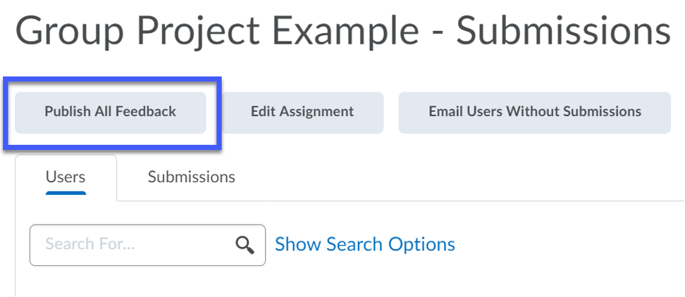 It is possible to publish all feedback for group submissions.
