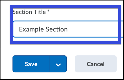 Enter a name for the Section in the Section Title