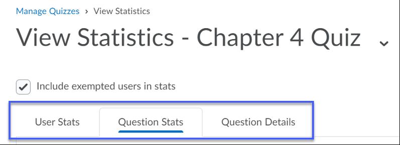 Question Stats tab.