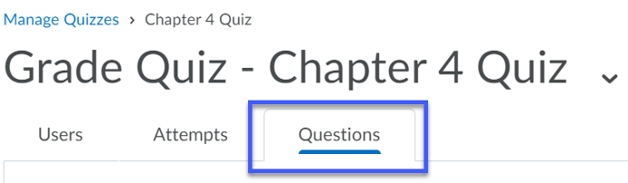 Select the Questions tab.