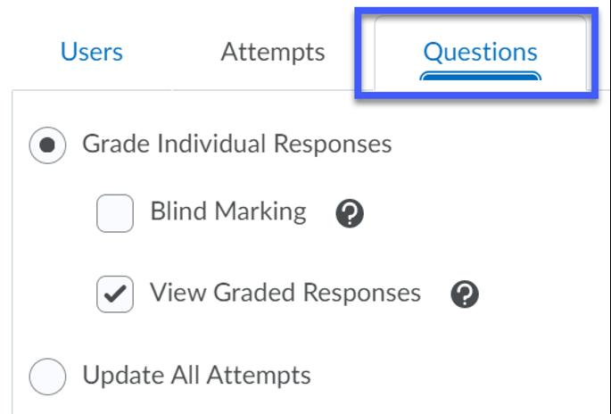 Screenshot of Questions Tab selected.