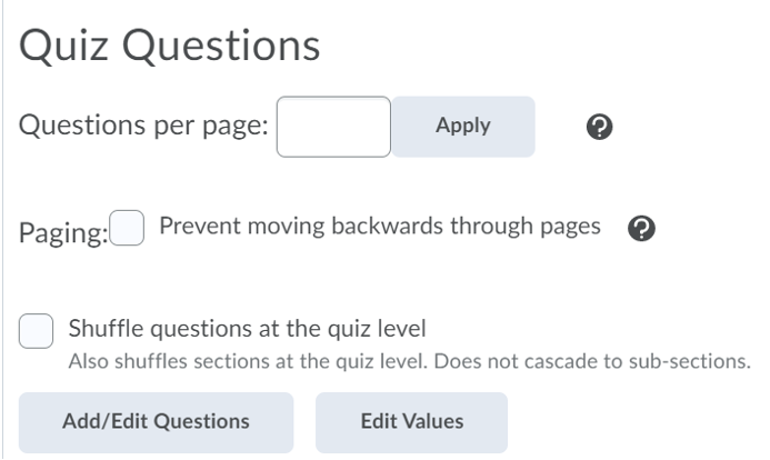 Screenshot of the Quiz Questions section showing the Questions per page, Paging, and Shuffle questions at the quiz level options.