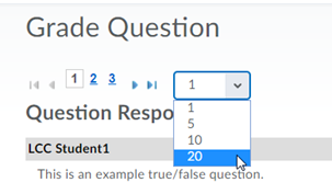 Screenshot of Grade Question dialogue box, showing you can change number of users viewed per page.