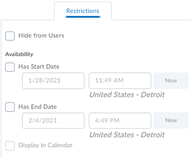 Restrictions tab showing the Start and End date functions.