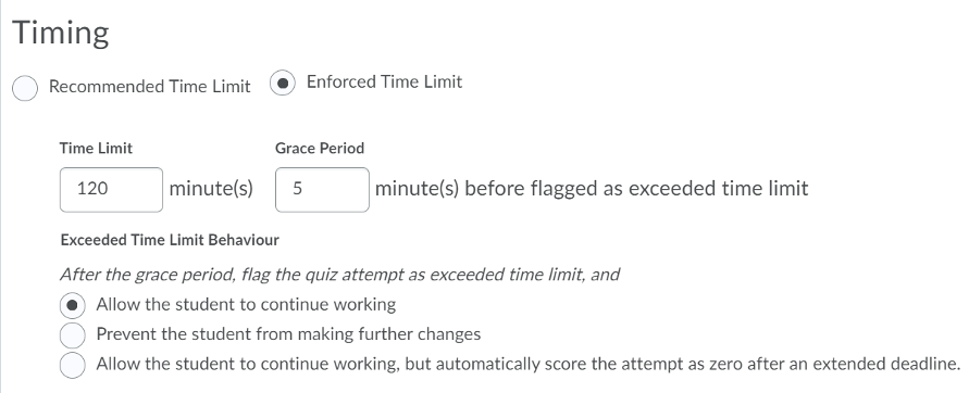 Timing section showing the different options for setting time limits on quizzes.