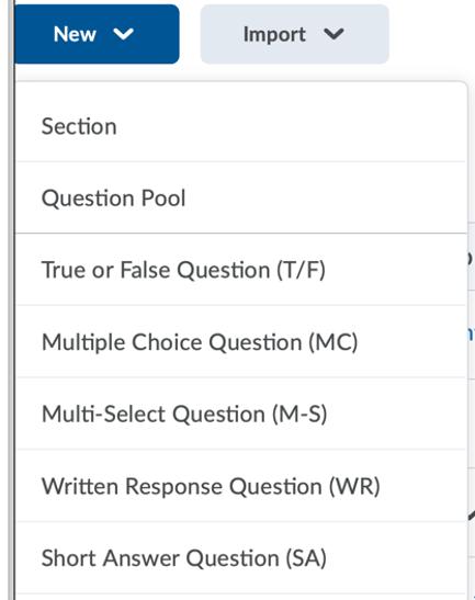 Dropdown of D2L quiz types.