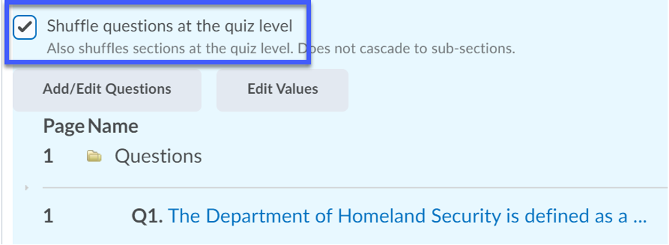 Option selected to randomize questions at the quiz level.
