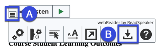 Screenshot highlighting the webReader Listen button on the Listen to this page icon.