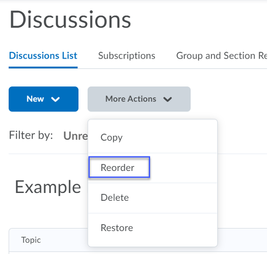 From the More Actions menu, select Reorder.