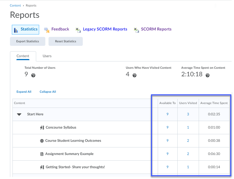 Viewing statistics on the Reports panel.
