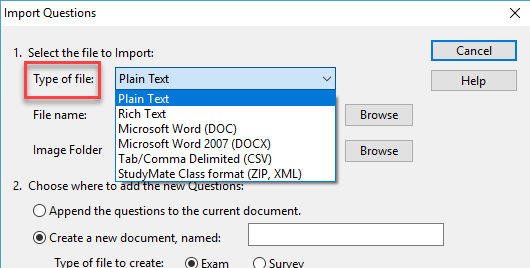 Select the type of file from the menu options.