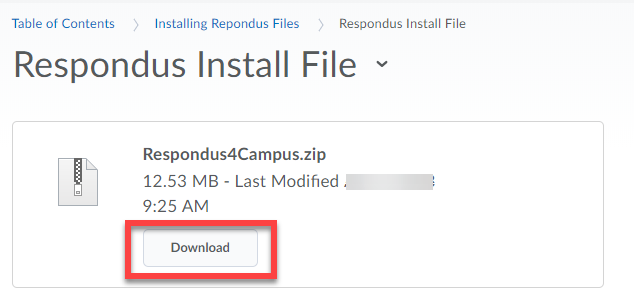 Screenshot of the Respondus Install File page, highlighting the Download button.