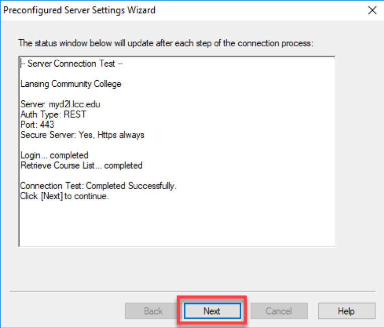 Select next in the Preconfigured Server Settings Wizard.