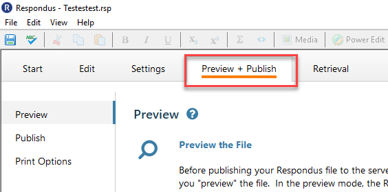 Select the Preview and Publish Tab.