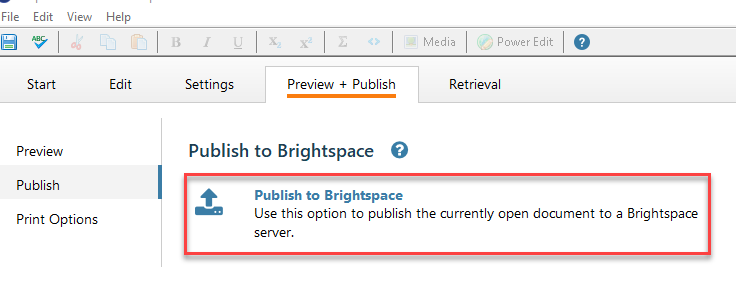 Select Publish to Brightspace.