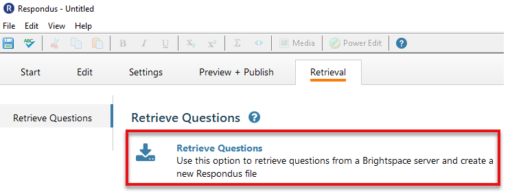 Select Retrieve Questions to from a Brightspace Server.