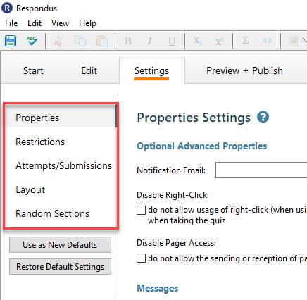Set any desired quiz settings via the menu options.