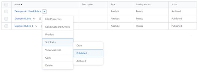 Screenshot of Status dropdown menu, highlighting Set Status and Published.