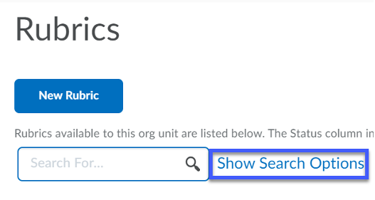 Screenshot of Search, indicating Show Search Options link.