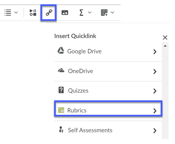 Find Rubrics from the drop-down.