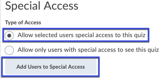 Select Add Users to Special Access.