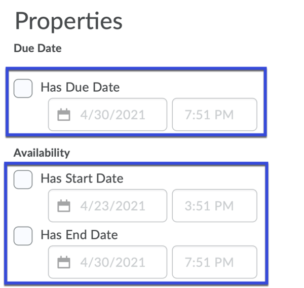 Select Special Access Properties including start and end dates, and timing.