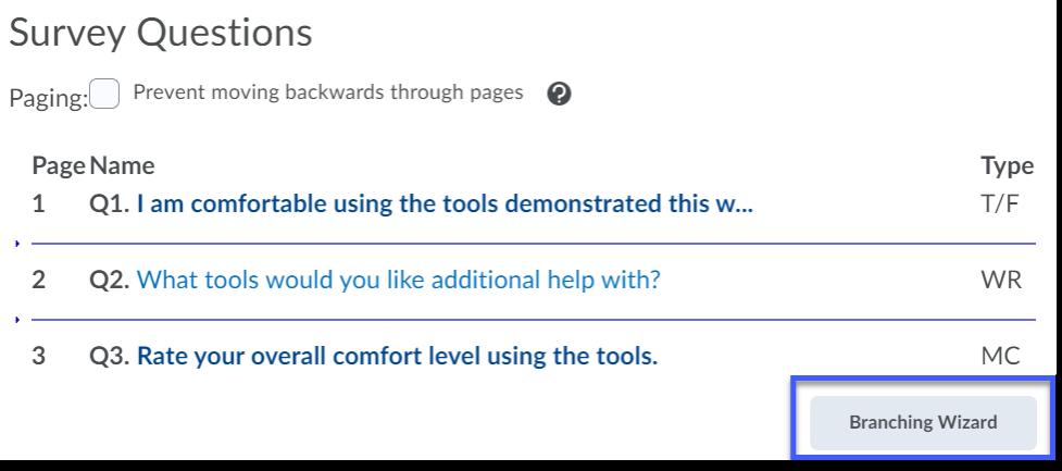 Screenshot indicating Branching Wizard button.