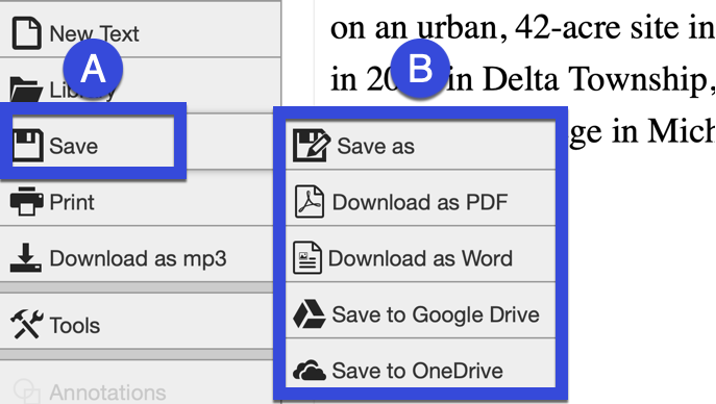 Select Save or the Save menu to download as PDF, Word or Print.