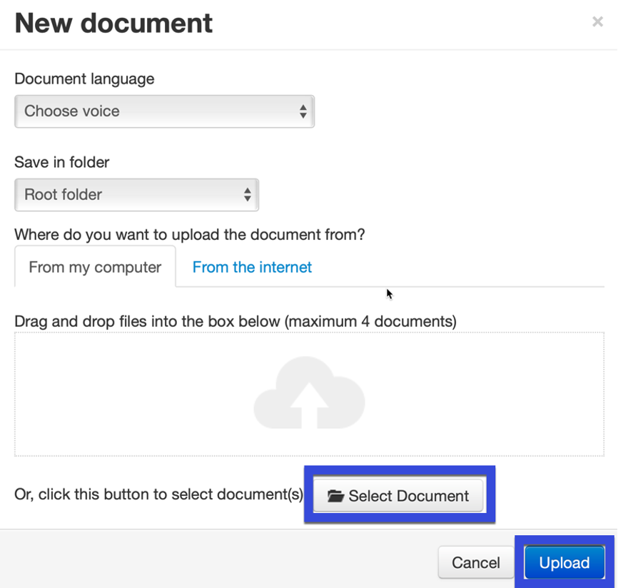 Select the Select document button.