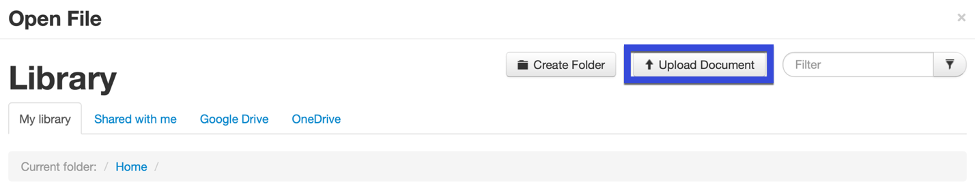 Select the Upload document button.