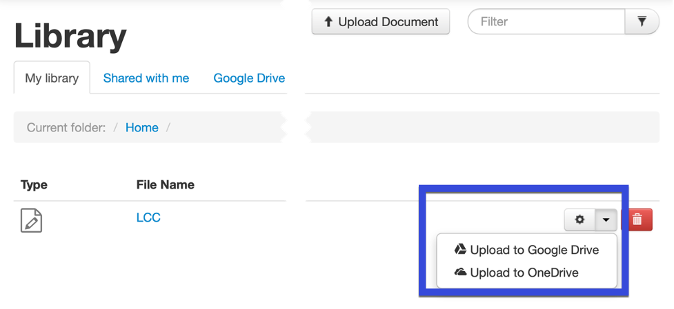 Select the folder to upload it to, and then select Upload.