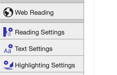 Select either voice, text or highlighting settings.
