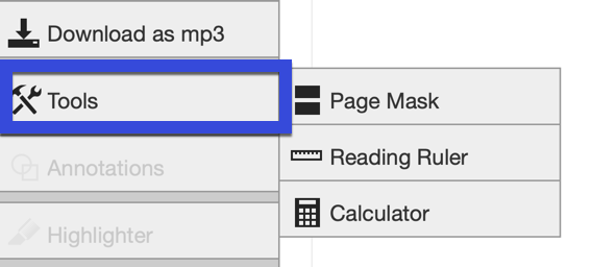 Select Screen mask or Reading ruler from the Tools menu.