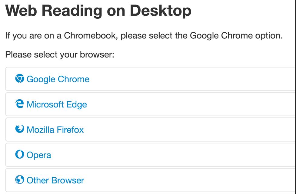 Browser selection pane.