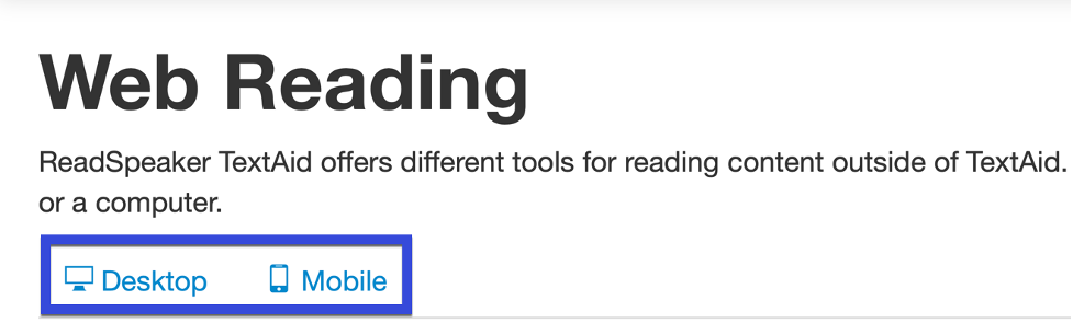 Web Reader prompt with Desktop and Mobile highlighted.