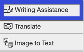 Select Writing Assistance.