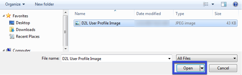 File browser window to select image.