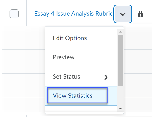 View Statistics from the more options drop down