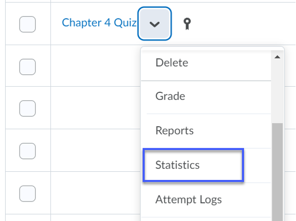 From the more options drop-down, Statistics selected.