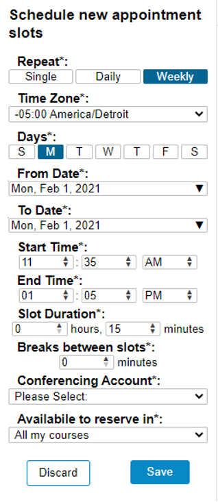 Screenshot showing the Schedule new appointment slots menu.