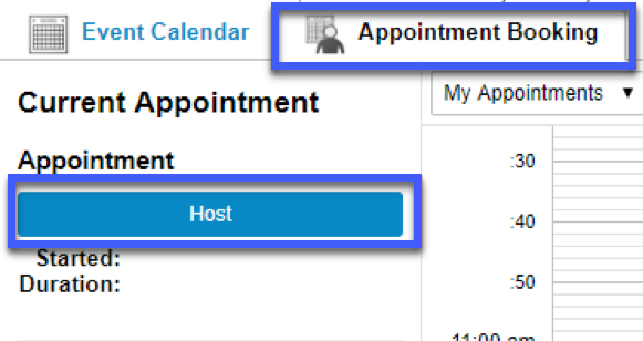 Screenshot highligting the link to Host in the Appointment Booking tab.