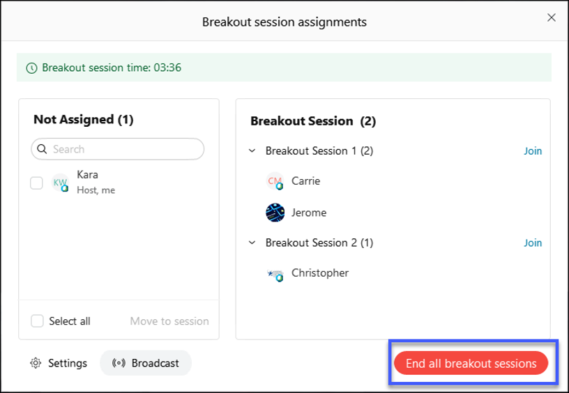 Select End all breakout sessions.