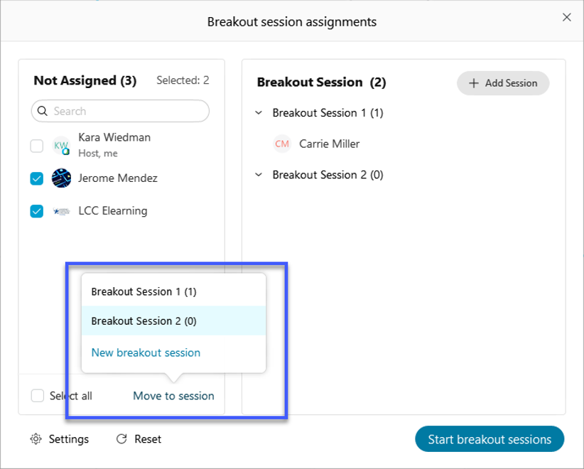 Select the checkbox for the participant to be moved, then select Move to session, then select the desired breakout session.