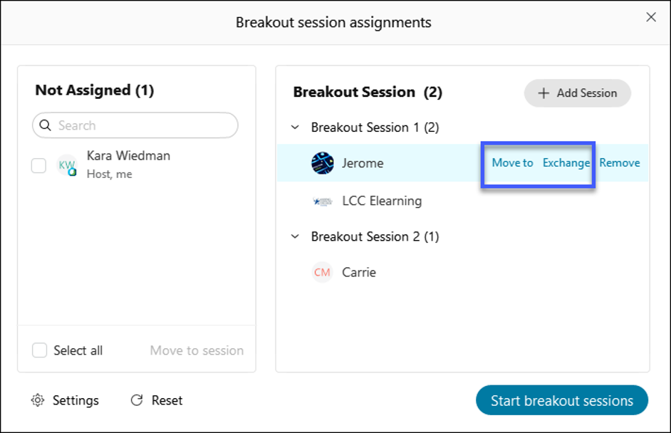 Select Move to or Exchange to move group members between sessions.