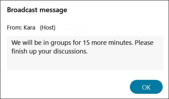 Example of a broadcast message from the student perspective.