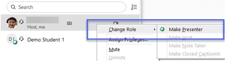 Right-click on a your name within the Participants Panel and then choose Change Role To > Presenter.