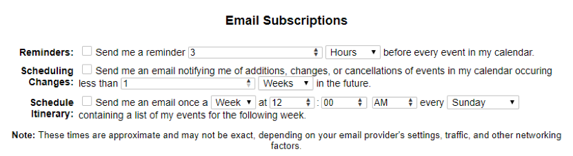 Screenshot of the Email Subscription options.